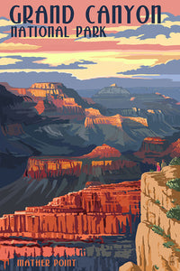 Grand Canyon National Park Postcard, Arizona. Mather Point sunset view