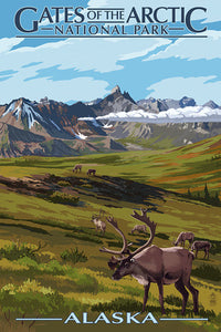 Gates of the Arctic National Park, Alaska. bull elk and mountain view postcard