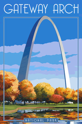 Gateway Arch National Park, Thomas Jefferson Memorial, in a fall scene postcard, Missouri