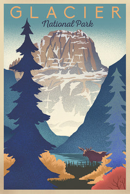 Majestic poster image of a bull moose among Glacier National Park's forests with a high peak looming far overhead in Montana