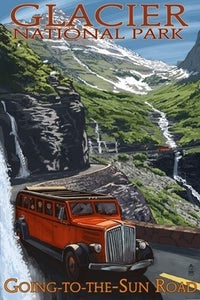 Going-to-the-Sun road view with red car postcard. Glacier National Park, Montana