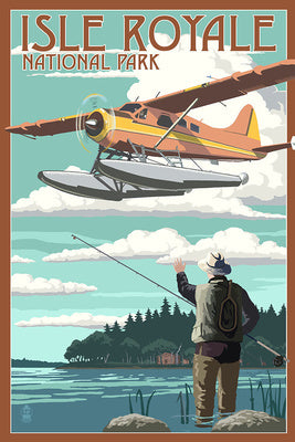 A fisherman waves to a seaplane in a postcard at Isle Royale National Park, Michigan