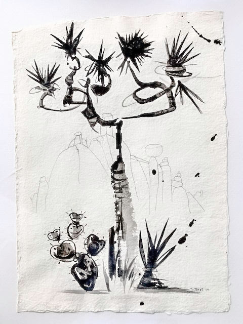 JTree 15, 2019 - Mixed Media Brush Drawing on Handmade Paper