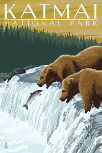 Grizzly Bears try to catch salmon in a postcard in Katmai National Park, Alaska