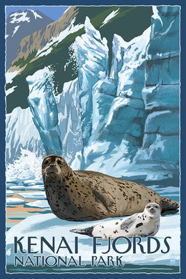 A seal and her pup rests amongst the ice shelf in a postcard of Kenai Fjords National Park