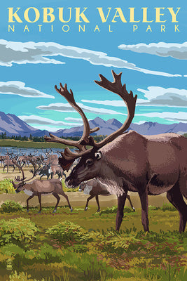 Caribou line the valley of Kobuk Valley National Park, Alaska postcard