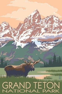 Poster of bull moose in front of famous Grand Teton in National Park, Wyoming