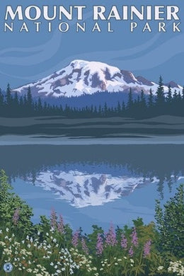 A reflection Lake on a postcard of Mount Rainer National Park, Washington