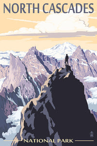 A figure stands above the mountain peaks of North Cascades National Park, Washington, postcard.