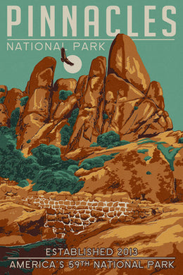 A California Condor flies above Pinnacles National Park, California, in this postcard