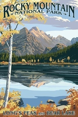 Bear Lake reflects Long's Peak in this postcard of Rocky Mountain National Park, Colorado