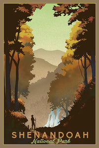 A silhouetted hiker breathes in the beauty of the Blue Ridge Mountains in front of a waterfall and fall foliage in Shenandoah National Park, Virginia. Poster print