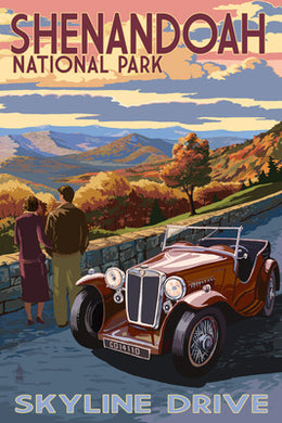 A couple in a vintage car take in the vista in a postcard of Skyline Drive, Shenandoah National Park, Virginia