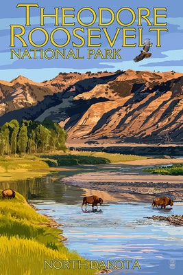 Bison cross a river in a postcard of Theodore Roosevelt National Park, North Dakota