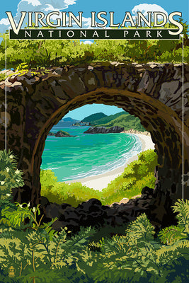 View from the ruins at Virgin Islands National Park, St. John island, U.S.V.I.