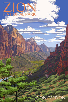 Zion Canyon appears in this postcard of Zion National Park, Utah