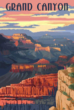 Load image into Gallery viewer, Photorealistic Grand Canyon National Park Poster, Arizona. Sunset view of the deep canyon walls and unique desert colors