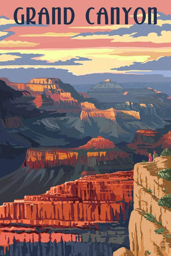 Photorealistic Grand Canyon National Park Poster, Arizona. Sunset view of the deep canyon walls and unique desert colors