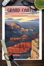 Load image into Gallery viewer, Grand Canyon National Park Poster, Arizona, sunset view. Shows size of National Park poster compared to household objects