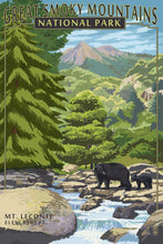 Load image into Gallery viewer, Photorealistic poster of Great Smoky Mountains National Park, North Carolina & Tennessee. Depicting Mt. Leconte with a black bear and her cub