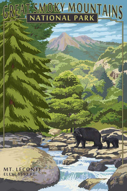 Photorealistic poster of Great Smoky Mountains National Park, North Carolina & Tennessee. Depicting Mt. Leconte with a black bear and her cub