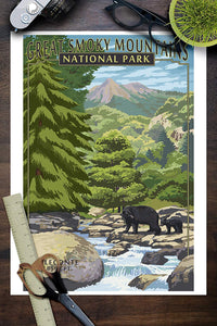 Great Smoky Mountains National Park Poster - Leconte Creek and Mt. Leconte