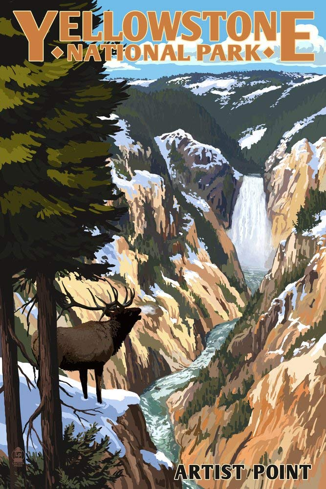 Photorealistic poster of Artists Point, Yellowstone National Park, Wyoming. A bull elk stands on the canyon walls in the foreground while the Grand Canyon of the Yellowstone lies below.