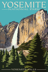 Photorealistic poster of Yosemite Falls in Yosemite National Park, California