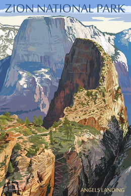 Photorealistic poster of Angel's Landing, Zion National Park, Utah.