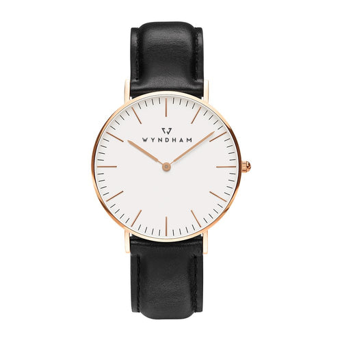 Classic Black Leather | Rose Gold - Wyndham Watch Co.