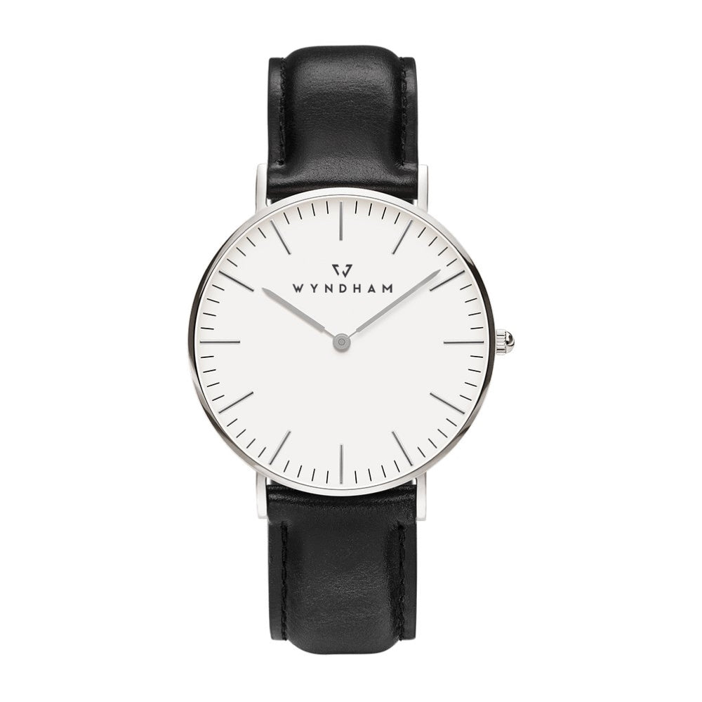 Classic Black Leather | Silver - Wyndham Watch Co.