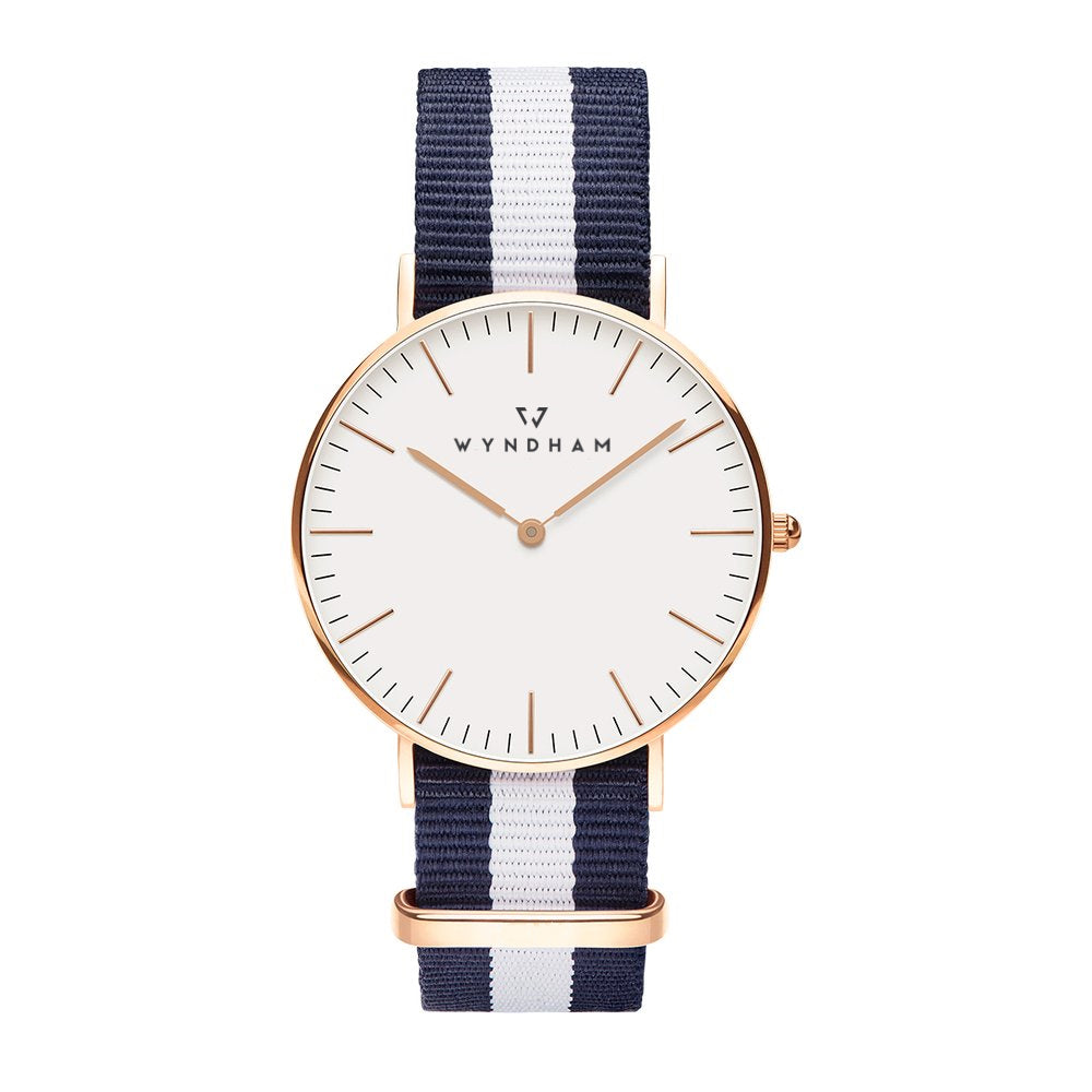 Blue & White NATO Strap | Rose Gold - Wyndham Watch Co.