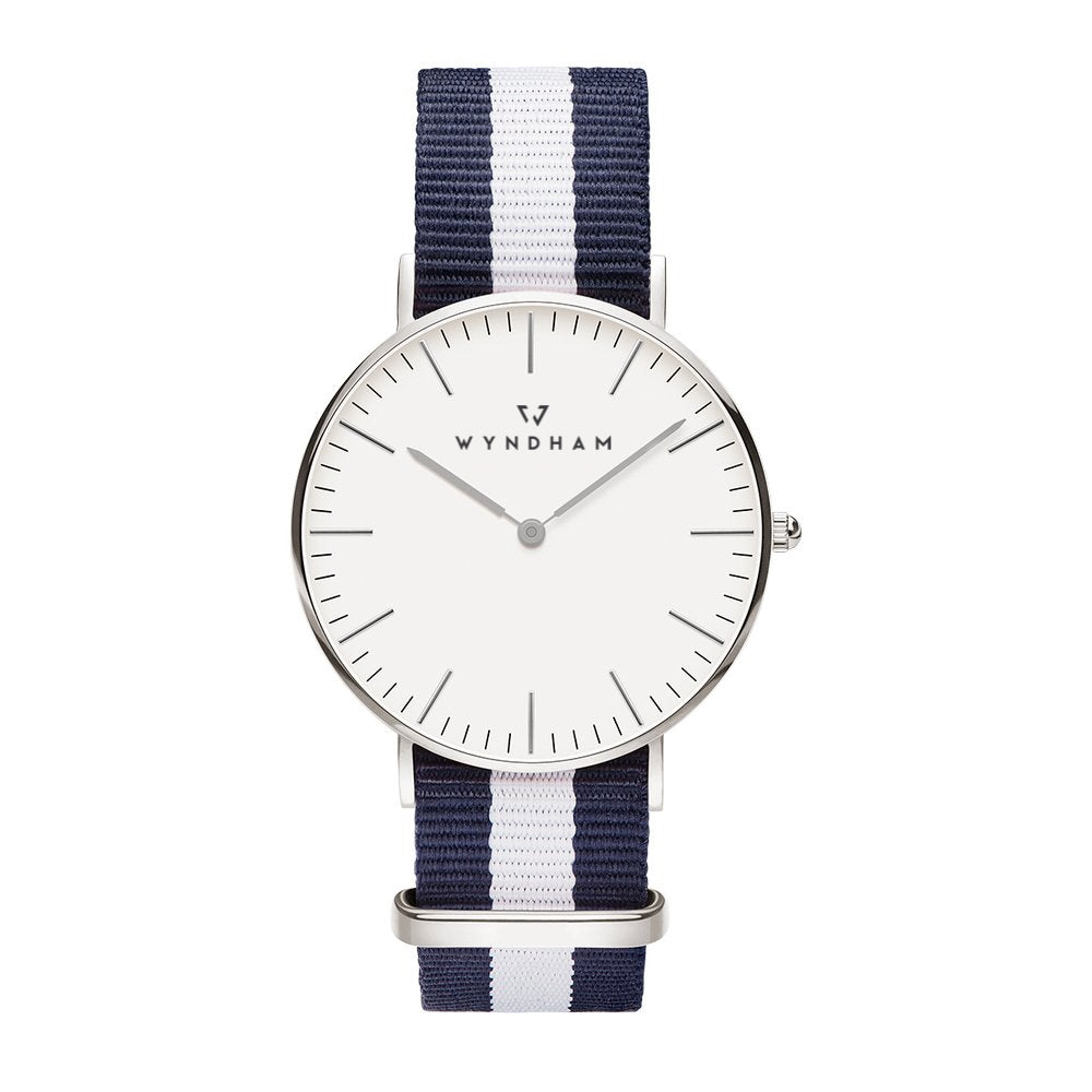 Blue & White NATO Strap | Silver - Wyndham Watch Co.