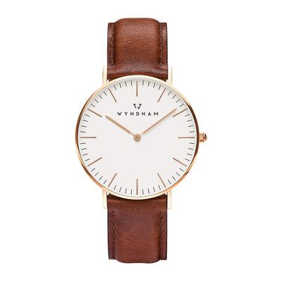 Classic Brown Leather | Rose Gold - Wyndham Watch Co.