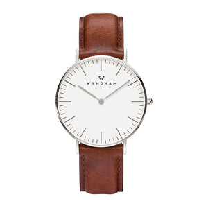 Classic Brown Leather | Silver - Wyndham Watch Co.