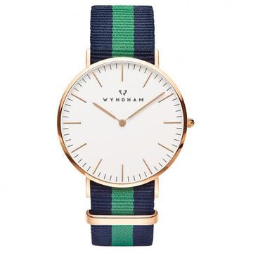 Green & Blue NATO Strap | Rose Gold - Wyndham Watch Co.