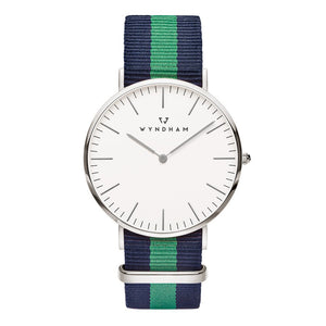 Green & Blue NATO Strap | Silver - Wyndham Watch Co.