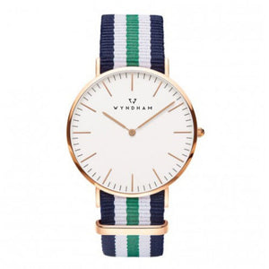 Green, White and Blue NATO Strap | Rose Gold - Wyndham Watch Co.