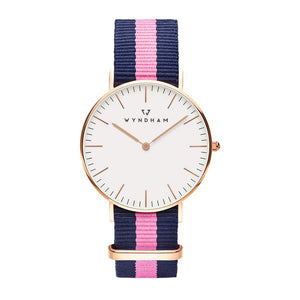 Pink & Blue NATO Strap | Rose Gold - Wyndham Watch Co.