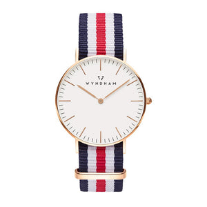 Red, White and Blue NATO Strap | Rose Gold - Wyndham Watch Co.