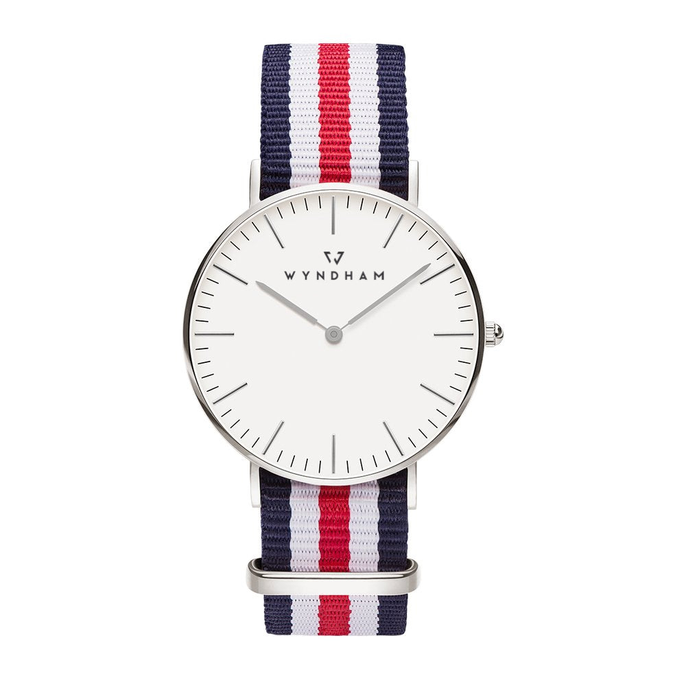 Red, White and Blue NATO Strap | Silver - Wyndham Watch Co.