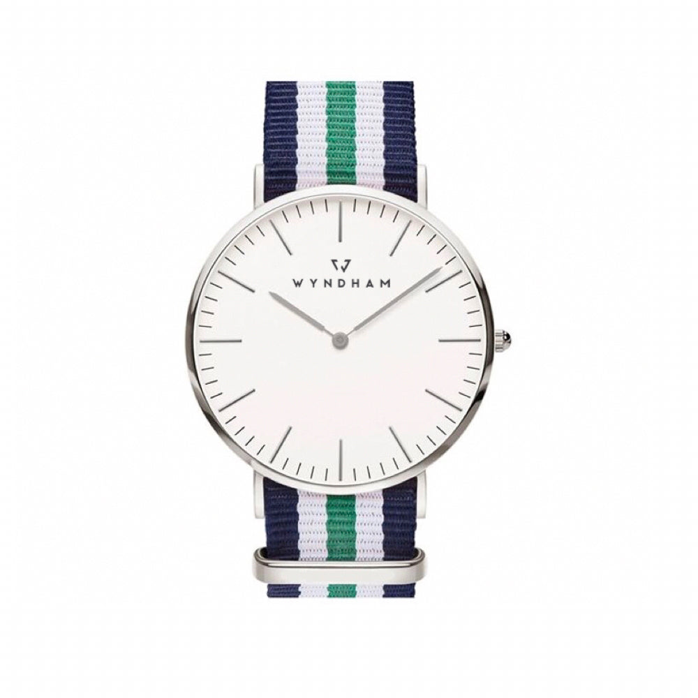 Green, White and Blue NATO Strap | Silver - Wyndham Watch Co.