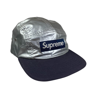 Supreme Silver/Navy Box Logo Hat