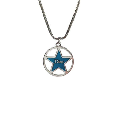 Dior Star Pendant Necklace, Silver/Blue