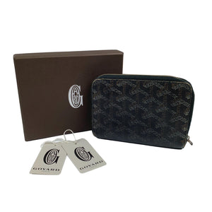 Goyard Black Coated Canvas Goyardine Tuileries Zip Compact Wallet