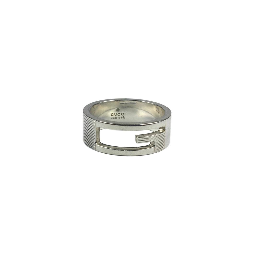 Gucci Silver G Cut Out Ring, Size: 21