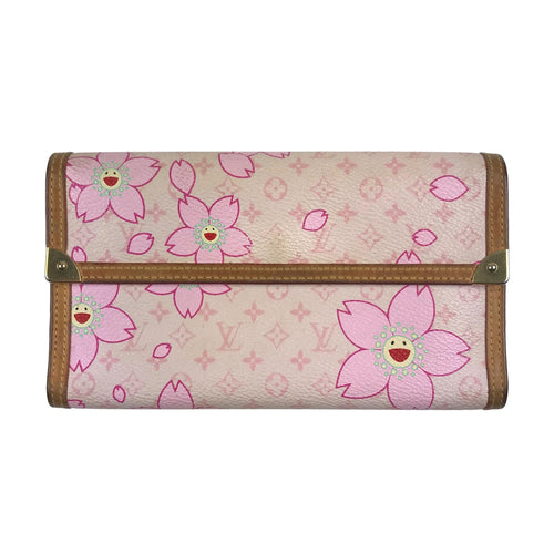 Louis Vuitton x Takashi Murakami Monogram Cherry Blossom Porte Tresor International Wallet Pink