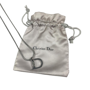 Dior 'D' Charm Necklace, Silver