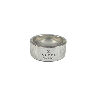 Gucci Silver Spellout Logo Ring, Size: 11