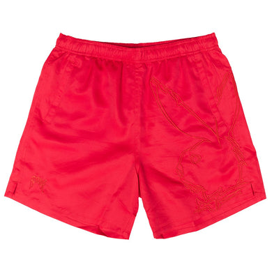 Revenge x Playboy Skull Bunny Red Embroidered Shorts